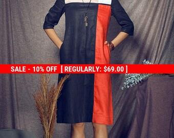 SALE! Oversize Loose Casual Dress /linen Tunic Dress / Contrast Color Shirt Dress / Shift Dress- Xl,xxl,plus Size A8008