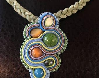 Blue & green pendant necklace