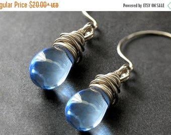 BACK to SCHOOL SALE Wire Wrapped Earrings - Sky Blue Clear Teardrop Earrings in Silver. Handmade Jewelry.