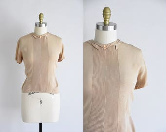 40s This & That top/ vintage 1940s rayon blouse/ neutral rayon blouse
