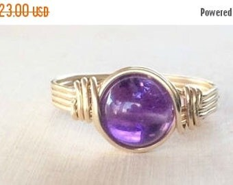 Amethyst ring, Gold wire wrapped amethyst ring, Amethyst wire wrapped ring, gold gemstone ring