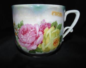 Vintage Porcelain Germany Teacup Flowers Floral Gold Gilt Roses