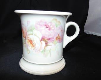 Vintage Antique Ceramic Shaving Mustache Mug Barber Potters Co-operative semi Vitreous Floral Flowers Gold Gilt