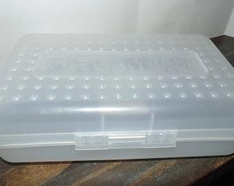 "Vintage Spacemaker School Box pencil arts crafts 1990s Clear 8"" x 5"""