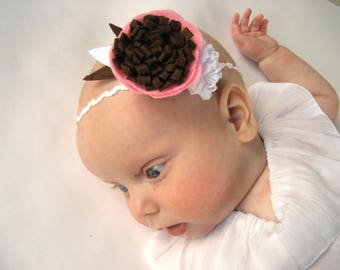 Spring floral headband -Pink and Brown - felt flower headband - Sunshine blossom