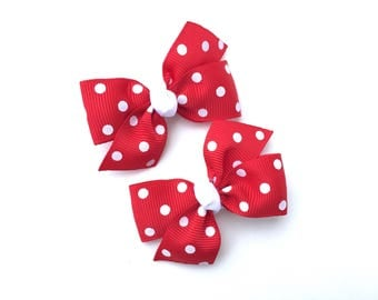 Adorable red polka dot pigtail bows, red polka dot bows, toddler bows, pigtail bows, baby bows, girls hair bows, red hair bows