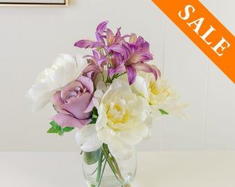 White Purple Silk Arrangement - Artificial Flowers - Faux Arrangement - Centerpiece - Home Decor