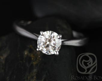Rosados Box Ready to Ship Flora 6.5mm Platinum Round F1+ Moissanite Tulip Cathedral Solitaire Engagement Ring