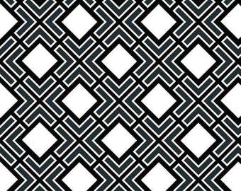 SALE - Black & White Flannel by the half yard - Diagonal Check Geometric Print Ikat Lattice