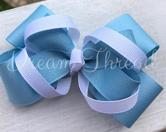 Carolina Bow, College Bows, Boutique Double Stacked Hairbows, Baby Boutique Bows, HairBows, Flower Hairbows, girls (made to order)