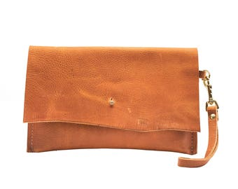 Leather Clutch, Summer Sunset Tan Leather Pouch Accessory, Foil Monogram