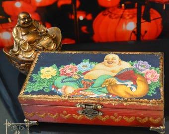 """Feng Shui Money Box """"HOTEI BUDDHA"""" , Wooden Cash box, Feng Shui gifts, Laughing Buddha, hieroglyph wealth, character meaning wealth"""