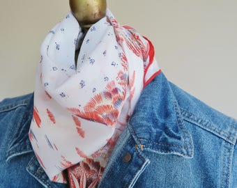 Red white blue scarf, square scarves, floral hair wrap, signed scarf,delicate scarf, vintage headscarf, Olga Greco,  floral bandana