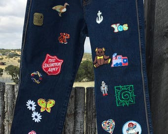 Custom patchwork jeans! Sz 12