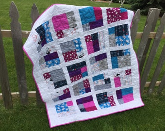 "Nurses are Patient People Cuddle Quilt 50"" x 65""  purples, pinks, and blues cuddle quilt"