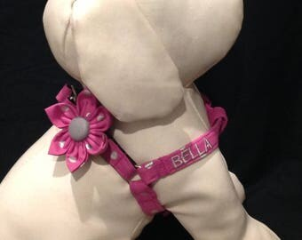 Step in Dog Harness Flower Set / Purple And Silver Metallic Polka Dot - Embroidered With Your Dogs Name  - Size XXS,XS, S, M