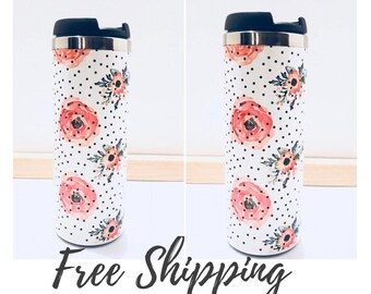 2 Watercolor Flowers and Polka Dots Tumblers