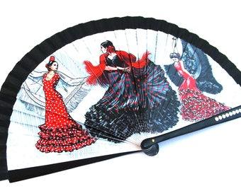 Éventail  bois noir - Danseuses Flamenco - petits Cabochons -  Fan / Abanico