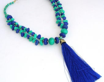 Necklace - ceramic Turquoise/Indigo-blue - silk tassel
