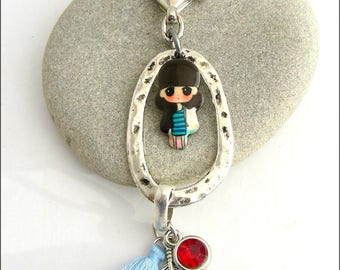 Bag charm / Keychain girl/doll - Pompom, feathers and rhinestones