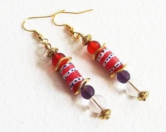 Boucles d'oreilles Ethnique Chic - Rouge Afrique - Verre recyclé, Cristal de Roche - Bijoux créateur, fait-main, pièce unique
