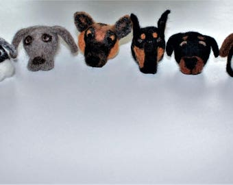 German dog breeds felted wool heads total of 7
