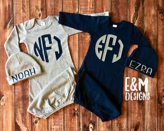 Twin Coming Home Outfits, Newborn Boys Monogram Gown Set, Gray and Navy Twin Boy Baby Take Home Sets, Twins Coordinating Newborn Gifts