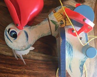 Fisher Price RARE Big Bill Pelican #794 1961 Pull Toy