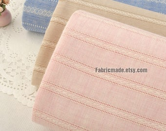 Jacquard Stripes Cotton Fabric, Stripes Cotton In Blue Pink Cream- 1/2 Yard