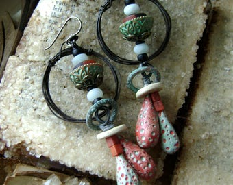 unique handmade rustic mixed media assemblage earrings with polymer headpins, beaded hoop earrings, black turquoise red, Anvil Artifacts