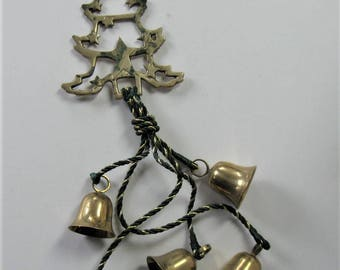 """Vintage Brass Christmas Tree with 5 brass Temple bells, 24"""" long, Christmas decoration, door decor, wind chimes, craft supplies, gift idea"""