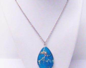 Blue Turquoise Tear Drop Pendant w/Rhinestone Drop Necklace