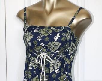 Vintage Hawaiian Floral Dress . Blue Floral Tropical Summer Halter Mini Sundress . Sleeveless Straps Hawaii Luau Dress . Size 5 USA