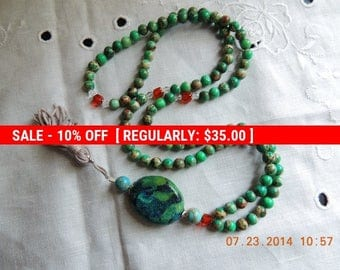 Mala 108 - Japa Mala -  Buddhist Prayer Beads - Meditation Bead Mala - 108 bead Mala - Turquoise Mala / Necklace  Handmade
