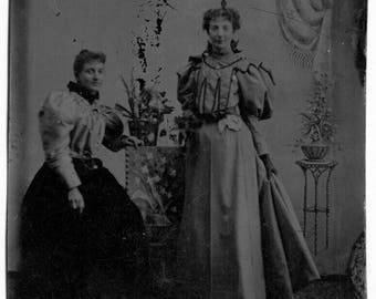 Tintype Circa 1895 Huge Leg o' Mutton Sleeves