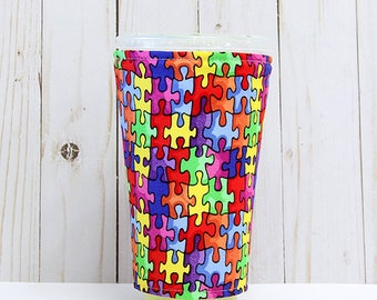 Large Autism Awareness Coffee Cozy, Iced Coffee Cozy, Cup Sleeve, Eco Friendly, Insulated Cup Sleeve,