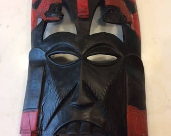 African wood mask hand carved