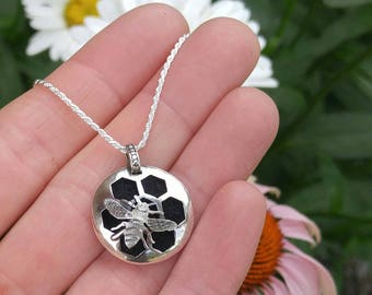 Sterling Silver Honey Bee and Honey Comb Essential Oil Pendant. Layered Artisan Aromatherapy Diffuser Necklace. Handcrafted, Ready to Ship.