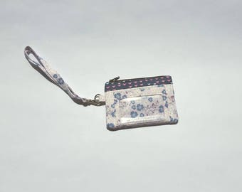 Zippered Wristlet, ID Pocket Wristlet, Lavender and Navy Wristlet, Floral Wristlet