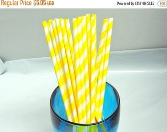 On Sale 50 Pack Yellow Striped Paper Straws, Party straws Yellow and White Striped, Food Safe Paper Drinking Straws, Paper Party Shower Sip