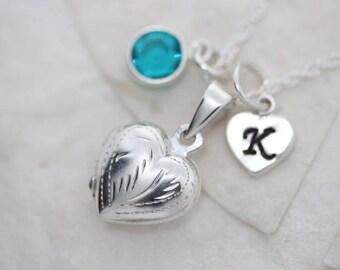 Locket. Heart locket, Sterling Silver Heart locket necklace. Personalized charms, Medium Locket, keepsake locket Jewelry, lockets.  R-22