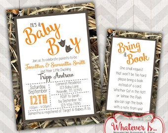 Camouflage Baby Shower Printable Invitation with Bring A Book Request Card