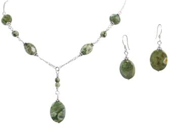 Rain Forest Jasper Oval Necklace & Earrings Set on Sterling Silver or 14k Gold Fill - Bead Jewelry - Beaded Jewelry