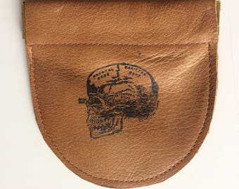 Squeeze frame pouch, recycled leather, change pouch, coin bag, guitar picks pouch, wallet, earbud case, gift under 15, flex spring wallet.