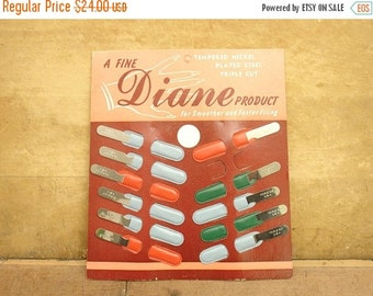 "ON SALE vintage 50's ""diane"" metal nail files store display full, old store stock"