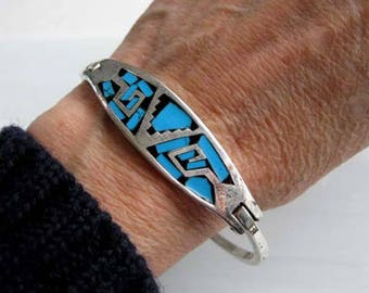 Mexico Sterling Turquoise Onyx Bracelet, Modern Hinged Cuff, Blue Black Stone silver Inlay, Abstract Native American Design
