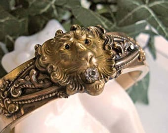 Victorian Lion Head Bracelet, Rose-Goldfilled Antique Edwardian Hinged Cuff, Green Stone Eyes, Patent 1908, S O Bigney & Co.