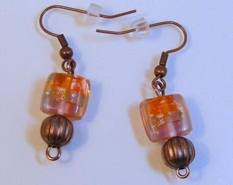 Orange Package Copper Earrings