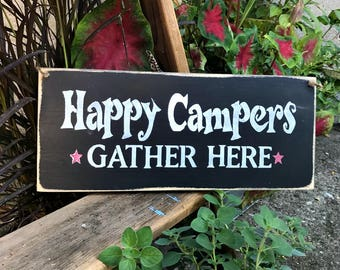 Wooden Camping sign, Happy Campers, Camp Decor, Campsite decoration, Gift for the campers, Wood Sign Saying, Camp Sign, Camp Saying