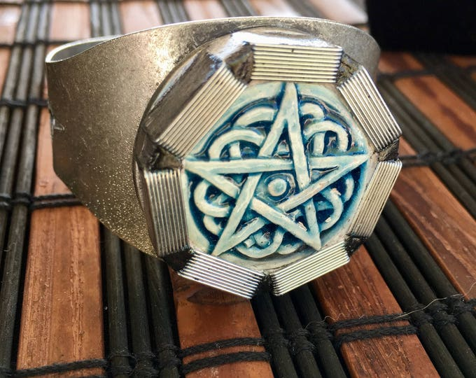 Featured listing image: Pentagram, Pagan, Adjustable Cuff Bracelet, unisex jewelry,